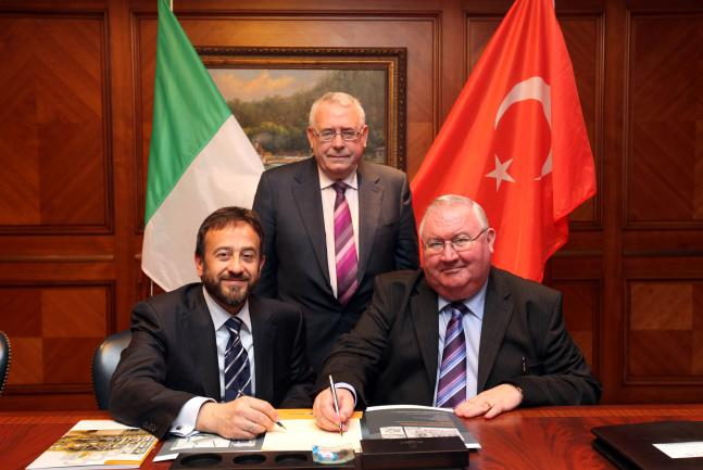Celaleddin Gokcek, Managing Director of Umde; Minister for Trade and Investment Joe Costello T.D. and John McKeon, Managing Director, Kells Stainless