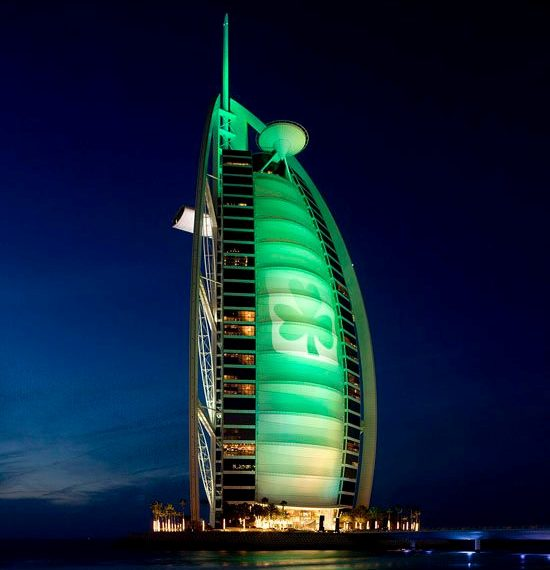 Burj Al Arab hotel in Dubai 'Goes Green for St.Patricks Day'