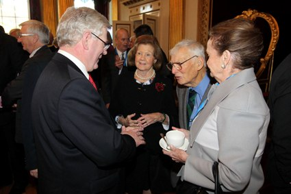 An Tanaiste Eamon Gilmore, Patricia Rooney, US Ambassador to Ireland, Dan Rooney and Loretta Brennan Glucksman, Chairman of The American Ireland Fund.