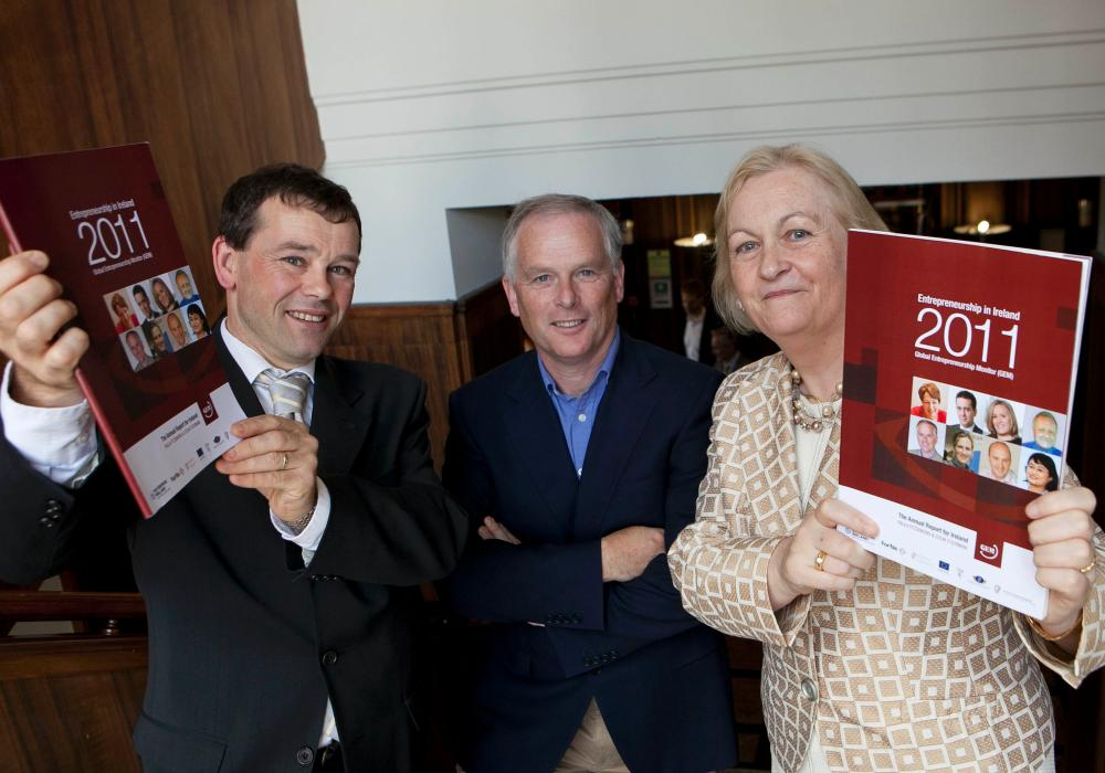 GEM report authors: Colm O'Gorman and Paula Fitzsimons with John Brophy, Carrig Solutions (centre)
